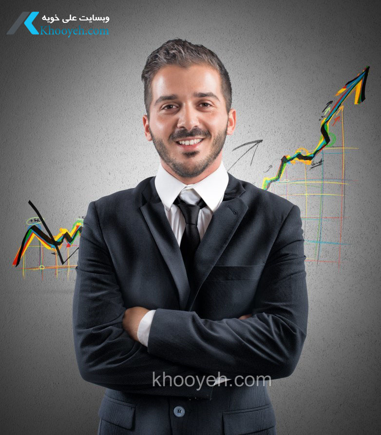 Happy successful businessman with positive statistics trend